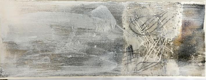 Beugung1, Pigment, Wachs und Acryl auf Papier, 29x76 cm, 2016
