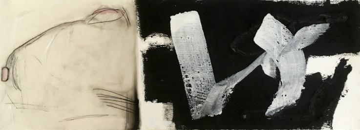Kammerstand, Pigment, Wachs und Acryl auf Papier, 29x76 cm, 2016