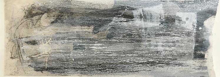 Schrund, Pigment, Wachs und Acryl auf Papier, 29x76 cm, 2016