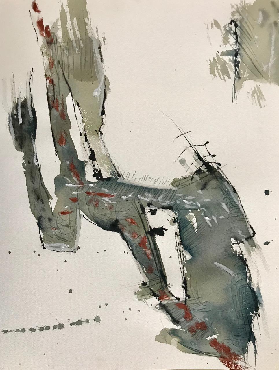 Hi There!, Aquarell und Tusche auf Papier, 46 x 61 cm, 2018
