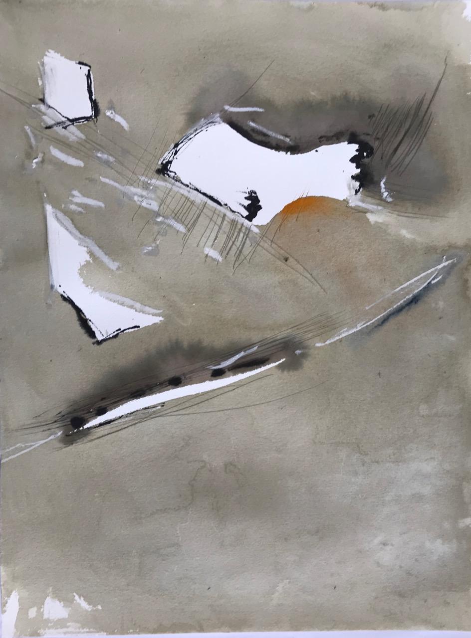 The First Cut Is The Deepest Pt.1, Aquarell und Tusche auf Papier, 46 x 61 cm, 2018