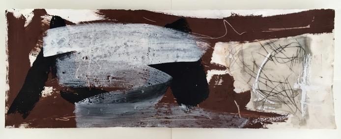 anamorph, Pigment und Acryl auf Papier, 29x76 cm, 2016