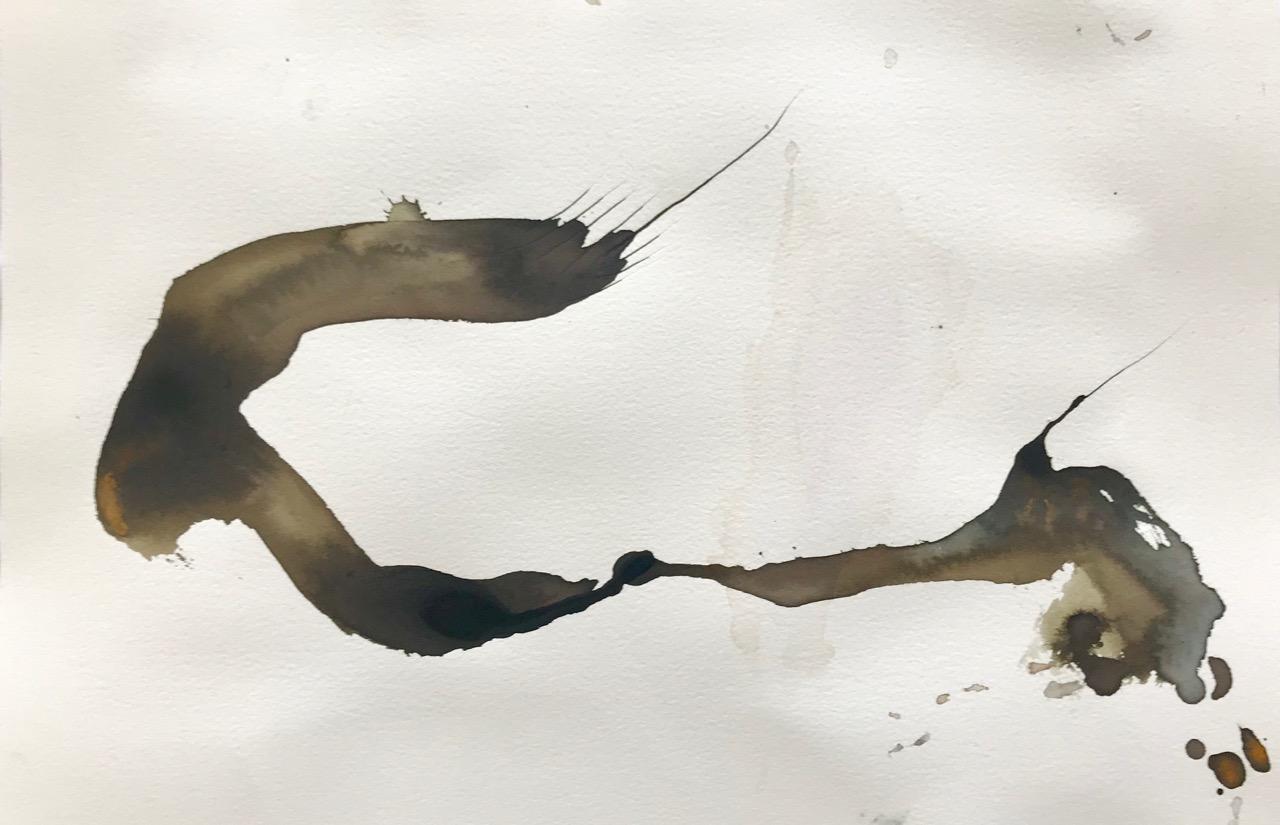 Tintenwurm - geteilt, Aquarell und Tusche auf Papier, 46 x 30 cm, 2018