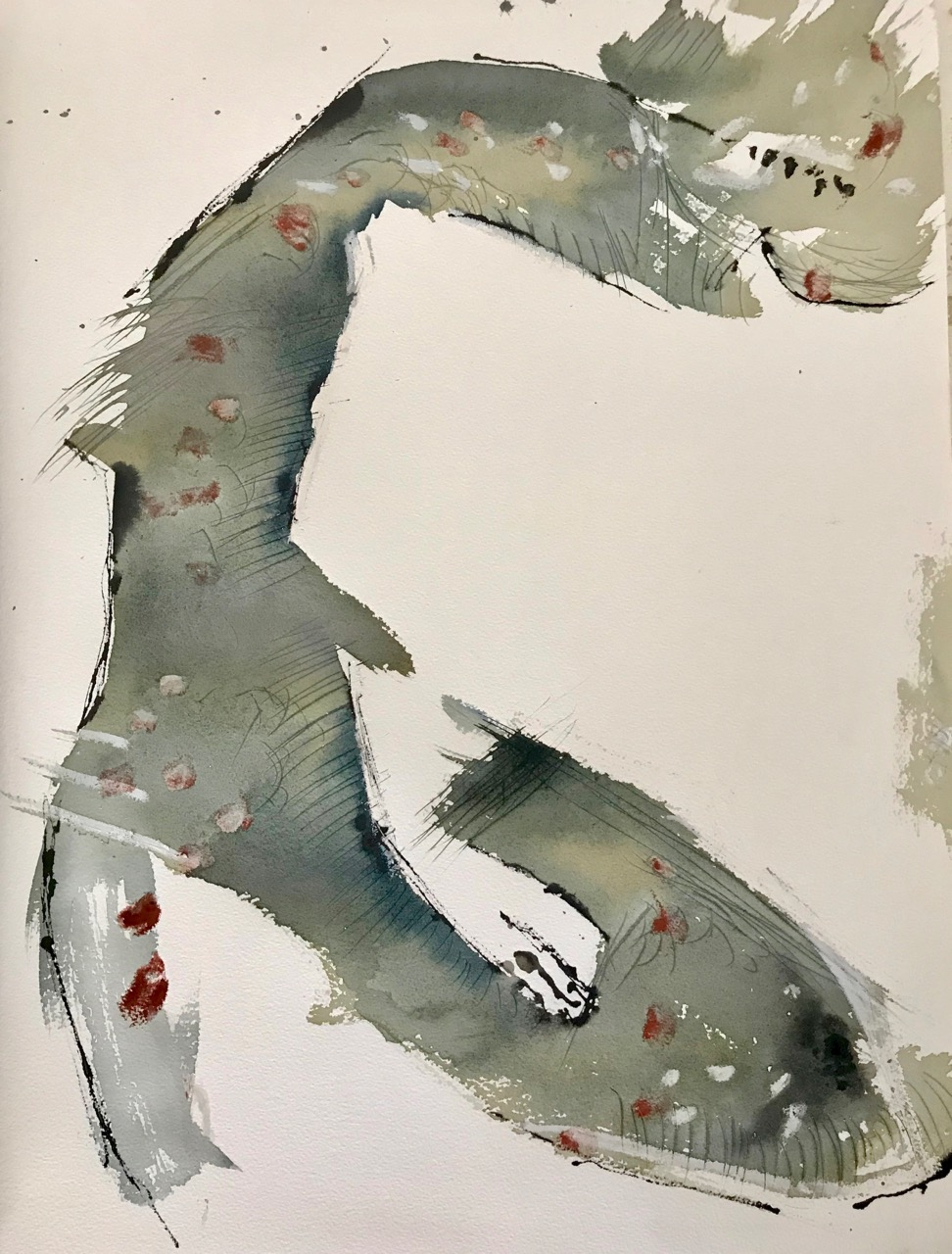 Stiefelknecht, Aquarell und Tusche auf Papier, 46 x 61 cm, 2018