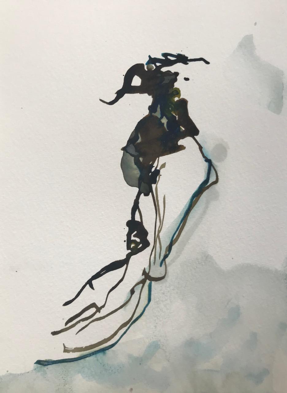 Kleine Enzyklopädie der Mittelmeerquallen Pt.9, Aquarell und Tusche auf Papier, 21 x 30 cm, 2018