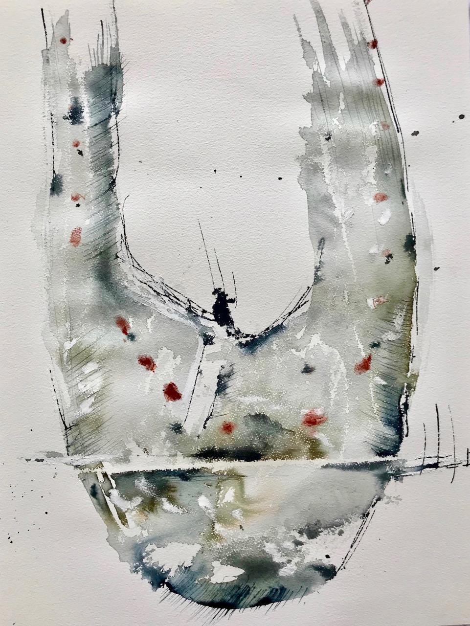 Heilbutt geschnitten, Aquarell und Tusche auf Papier, 46 x 61 cm, 2018