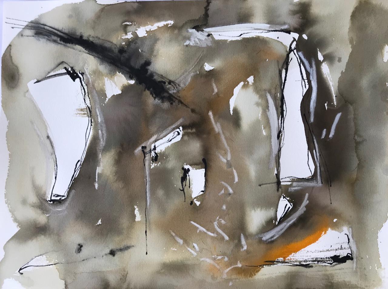 Ohne Titel, Aquarell und Tusche auf Papier, 46 x 61 cm, 2018