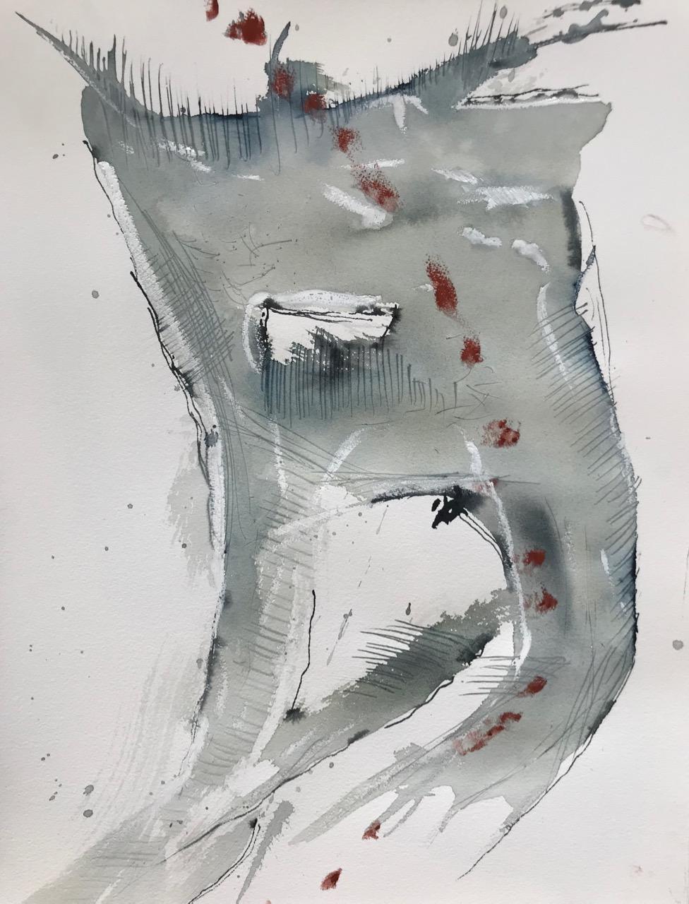 Graf Zahn, Aquarell und Tusche auf Papier, 46 x 61 cm, 2018