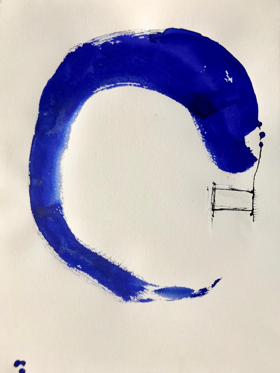 Bondi-Blue-Bananana, Pt.2, Aquarell und Tusche auf Papier, 46 x 61 cm, 2018