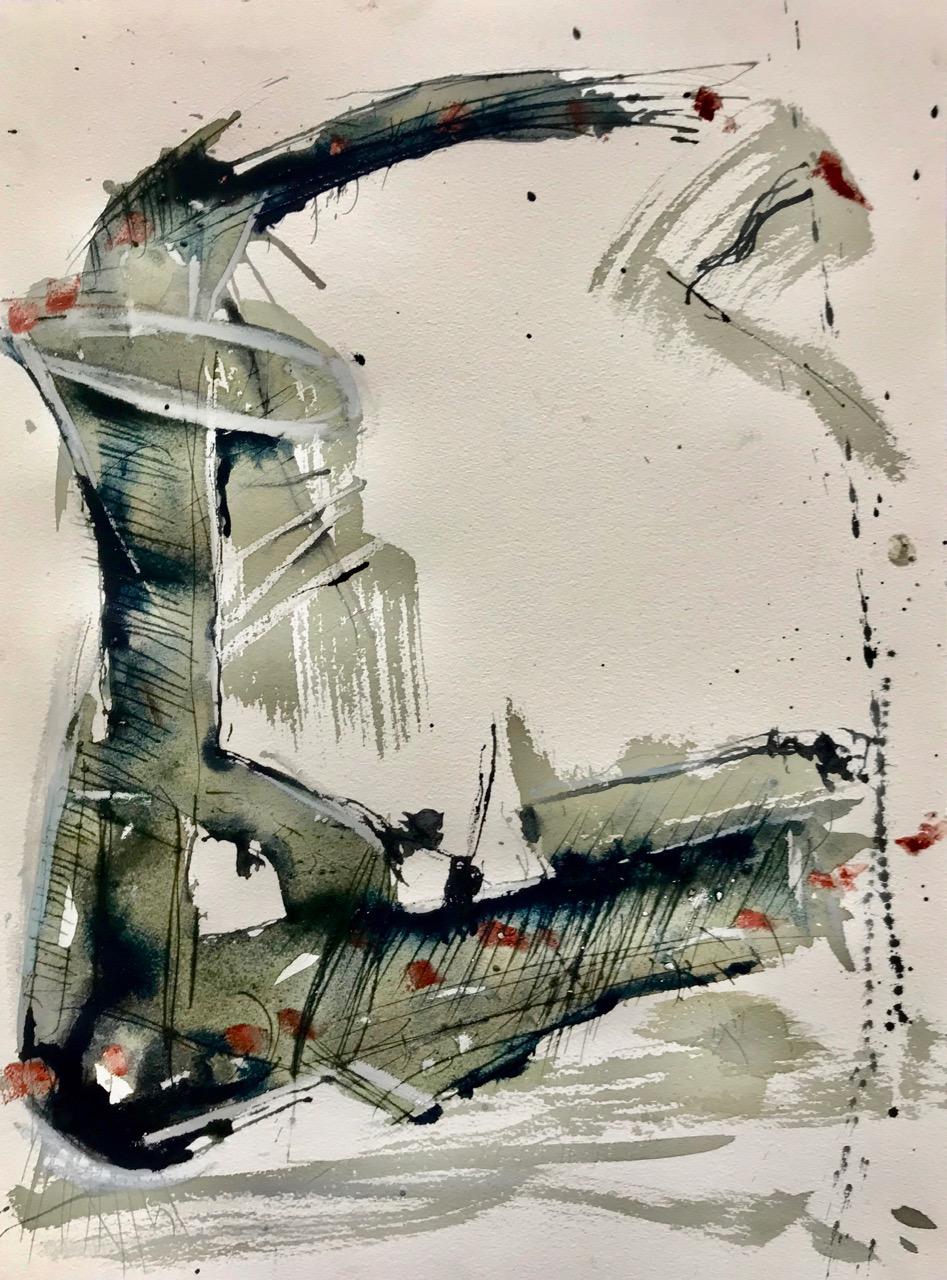 Sepioid - herausgeputzt, Aquarell und Tusche auf Papier, 46 x 61 cm, 2018