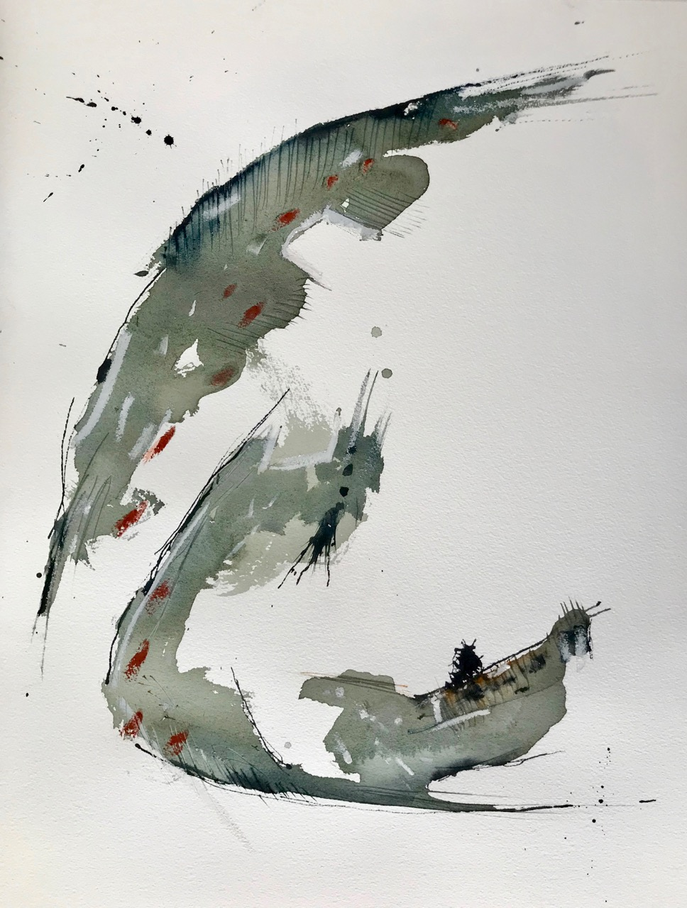 Sepferd, Aquarell und Tusche auf Papier, 46 x 61 cm, 2018