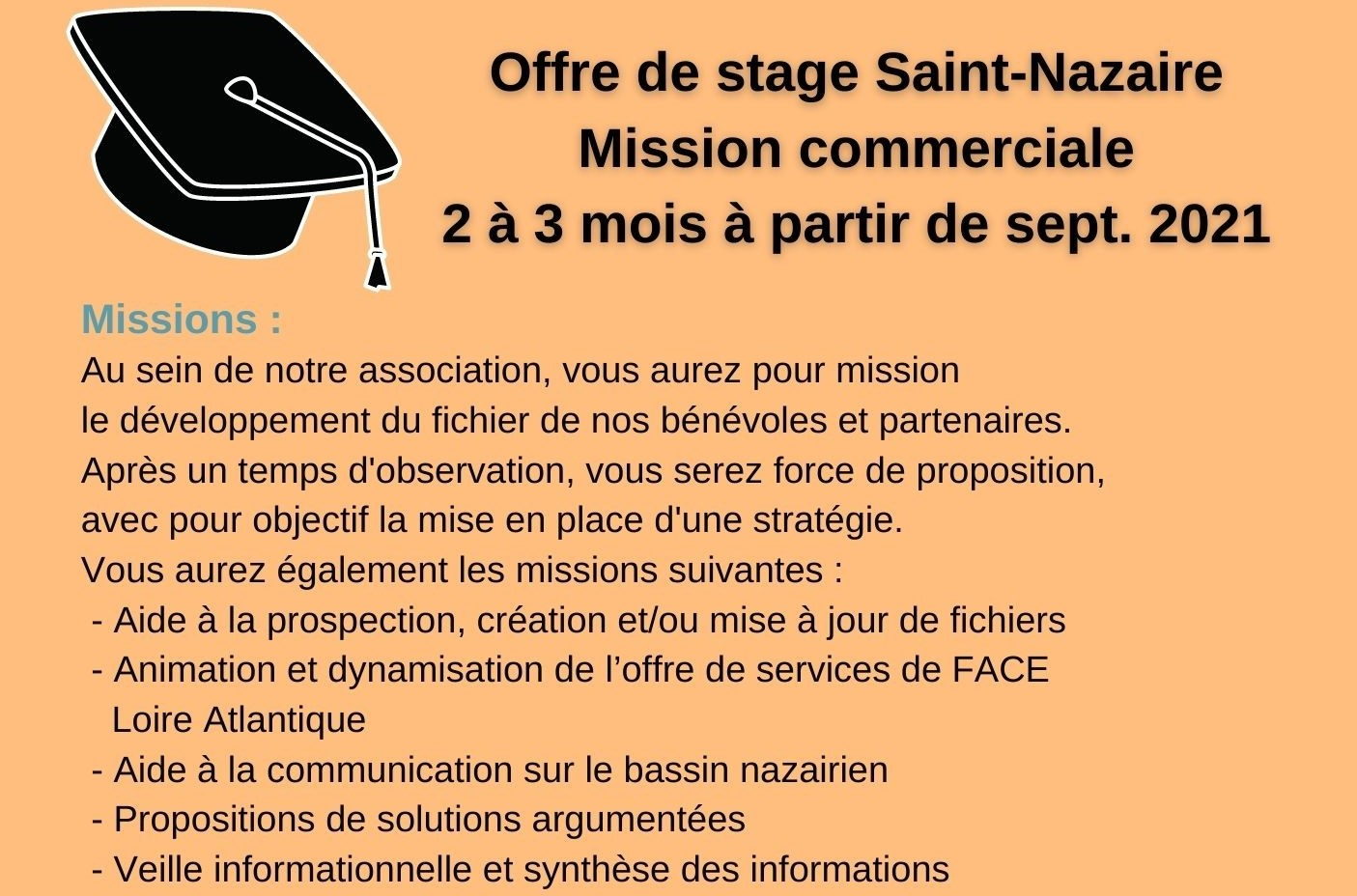 Notre association propose un stage sur une mission commerciale