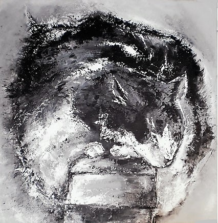 Schlafende Katze - Öl / Acryl auf Leinwand - 90 x 90