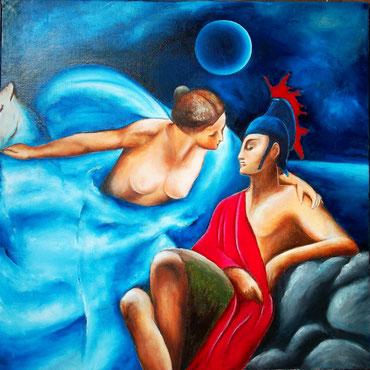 Luna und der Legionär -  Öl auf Leinwand - 50 x 50