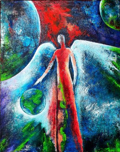 Earth Angel - Mischtechnik auf Leinwand - 40 x 50 (gerahmt)