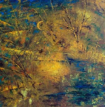 Lüner Lippeaue - Öl auf Leinwand - 90 x 90