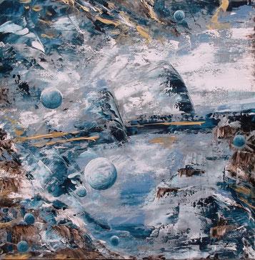 Spacesurfer - Öl auf Leinwand - 50 x 50
