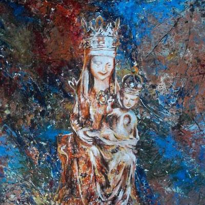 Maria (die liebe Frau von Lünen) - Öl / Acryl auf Leiwand - 90 x 90