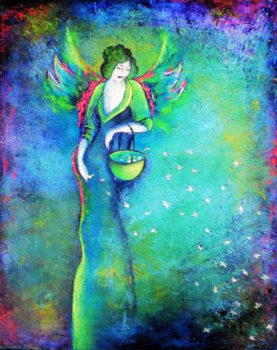 Großer Regenbogenengel - Mischtechnikauf Leinwand - 40 x 50 (gerahmt)