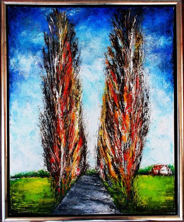 Alte Pappelalle - Öl / Acryl auf Leinwand - 40 x 50 (silber gerahmt)
