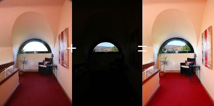 Zwei in Teilen korrekt belichtete Bilder werden zu einem zusammengefügt Immobilienfotos