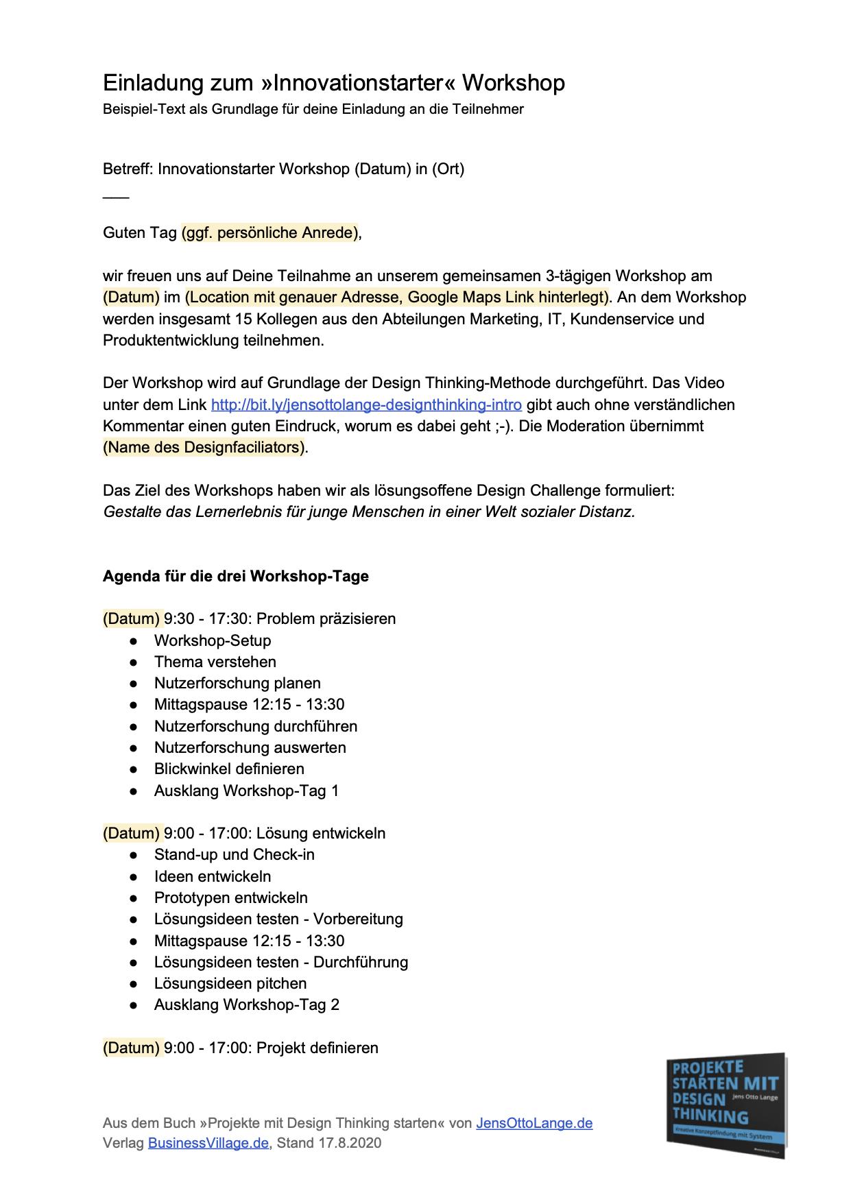 4. »Innovationstarter« Einladung (Beispiel) aufrufen