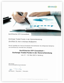 """Grafik: Preview PDF """"Verbund Deutscher Honorarberater bestätigt Dipl.-Kfm. Andreas Wulfgramm als zertifizierten ETF-Consultant"""""""