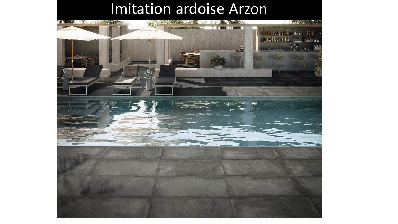 Carrelage terrasse extérieur pour piscine Arzon Anthracite