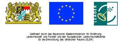 Leaderförderhinweis mit Text: Logo bayerisches Staatswappen, Logo EU und Logo Leader