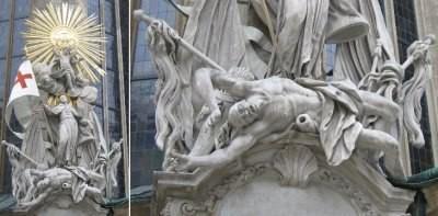 """Вена, Австрия. Собор св. Стефана. """"Духовный"""" человек (св. Франциск) попирает ногами поверженного врага рода христианского."""