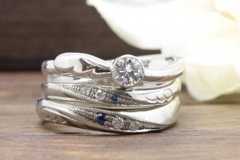 婚約指輪と結婚指輪を重ねる事で二つが一つの絵になります