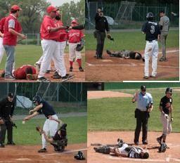 Una serie di immagini tratte dal sito Baseballmania che certificano collisioni accadute quest'anno nelle giovanili