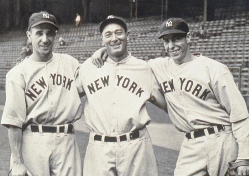 Frank Crosetti , Tony Lazzeri e Joe DiMaggio. (Museo ItaloAmericano)