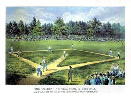 The American National Game of Base Ball di Carrier and Ives