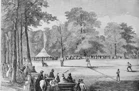 Nell'illustrazione (da notare l'umpire seduto dietro casa base) una gara all'Elysian Fields, (Harper's Weekly, 15 ottobre, 1859 (courtesy Library of Congress)