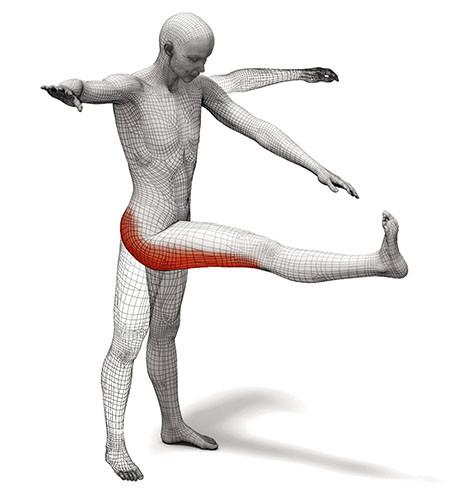 CALCIATA IN AVANI A GAMBA TESA (Per i muscoli posteriori della coscia e glutei) Calciare in alto una gamba con la punta dei piedi rivolta verso l'alto fino a toccare la mano della parte opposta estesa in avanti. Ripetere l'esercizio al contrario 6/7 volte