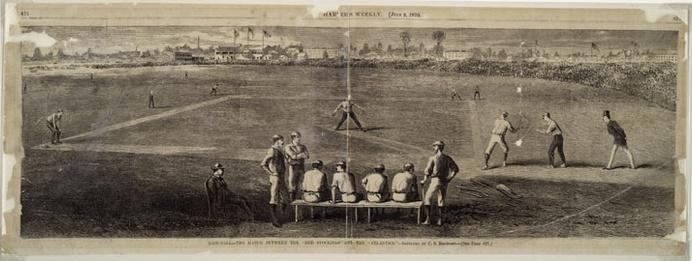 La partita Atlantics -  Reds (1865) illustrata da Harper's Weekly
