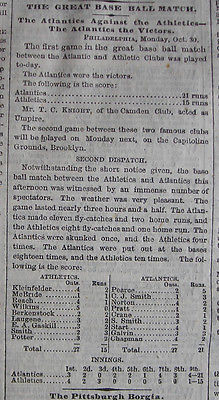 Baseball Match     The Atlantics Against the Athletics     Box Score (New York Times newspaper, October 31, 1865)