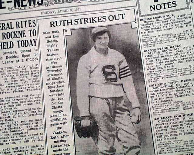 Il ritaglio del The Omaha Bee-News, Nebraska, del 3 aprile del 1931, per l'impresa della lanciatrice Jackie Mitchell