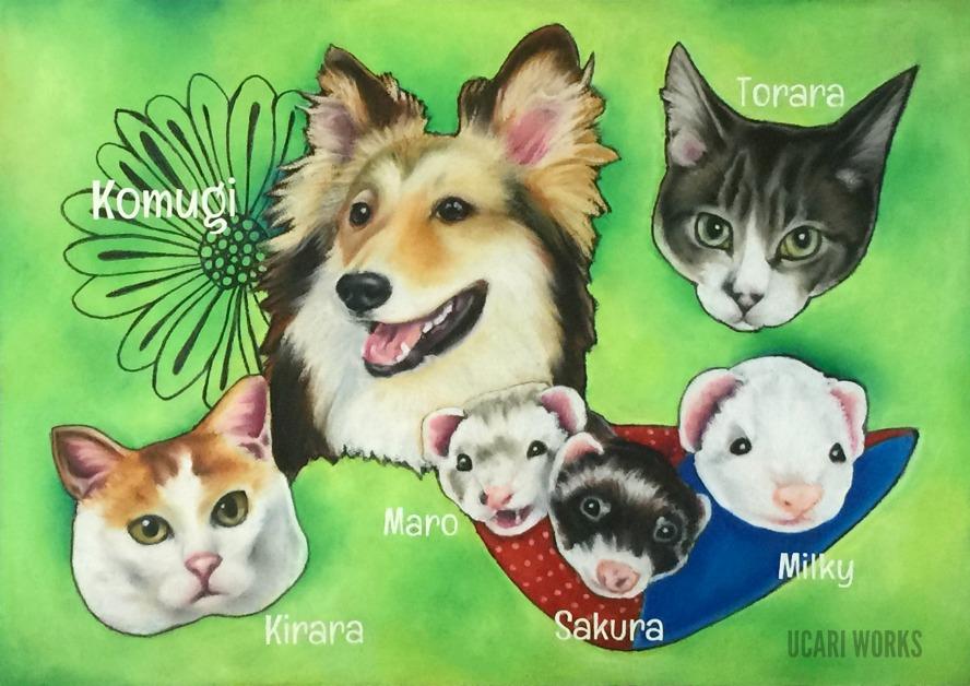 U様 愛犬&愛猫&愛フェレットボード(A4)