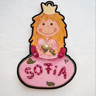 Prinzessin Tüschild für Kinder. Namensschild aus Holz.
