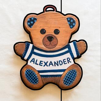 Teddybär Tüschild für Kinder. Namensschild aus Holz.