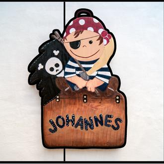 Pirat Tüschild für Kinder. Namensschild aus Holz.