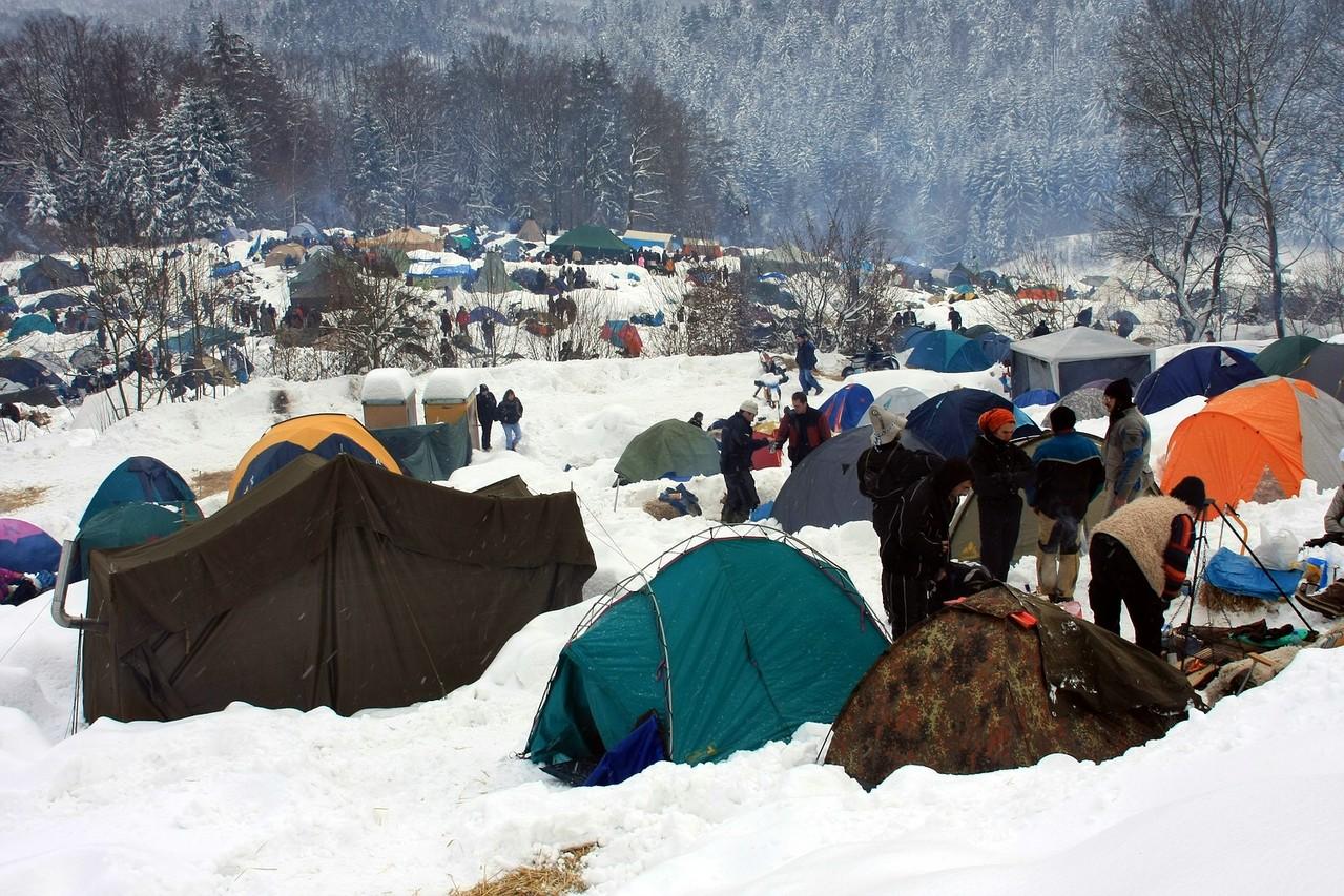 Campen in Schnee und Kälte