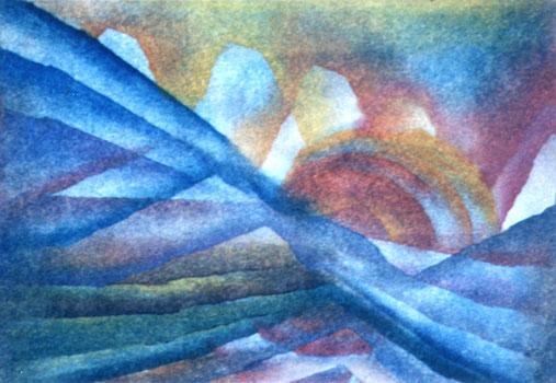 Landschaft / 1977 / 30 x 21 cm / Papier / Öl-Lasur