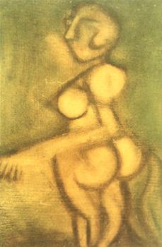 Akt / 1974 / 15 x 30 cm / Pappe / Öl-Studie