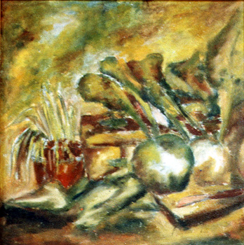 Küchen-Still-Leben / 1978 / 50 x 50 cm / Hartfaser