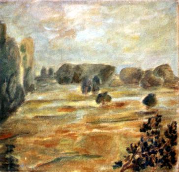 Landschaft / 1987 / Pappe / Öl-Studie