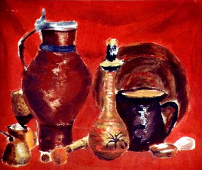 Rotes Still-Leben / 1975 / 42 x 35 cm / Pappe / Ei-Tempera