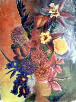 Blumen-Still-Leben / 1979 / 42 x 60 cm / Pappe / Ei-Tempera + Öl